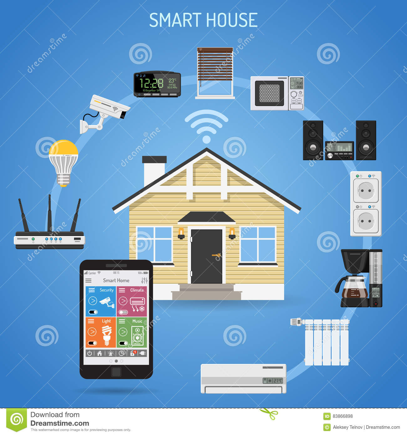 smart house and internet of things cartoon vector