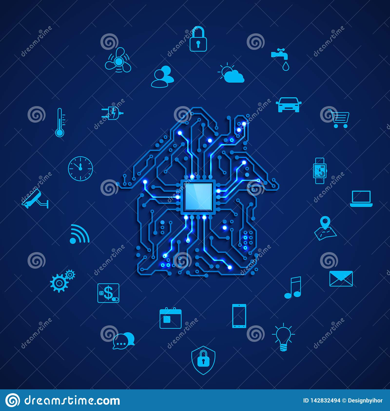 Smart house or IOT concept. Remote control smart house. House circuit and smart home appliance icons. Vector illustration on blue