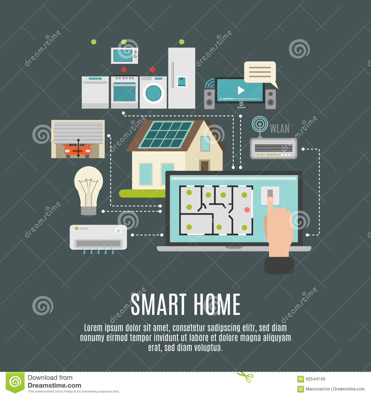 smart house iot flat icon poster stock vector illustration of decorative appliances 62544149. Black Bedroom Furniture Sets. Home Design Ideas