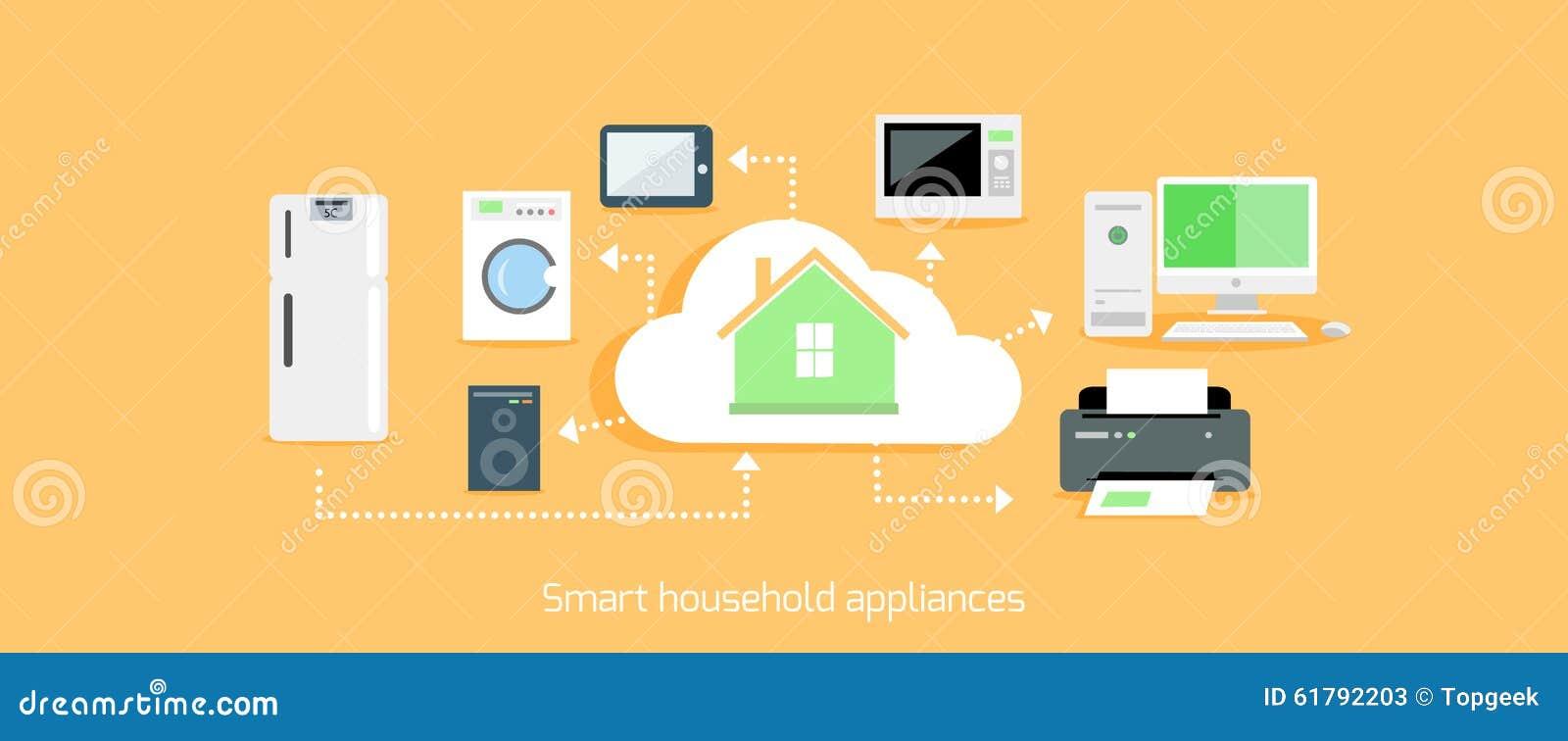 Smart Household Appliances Icon Flat Design Stock Vector