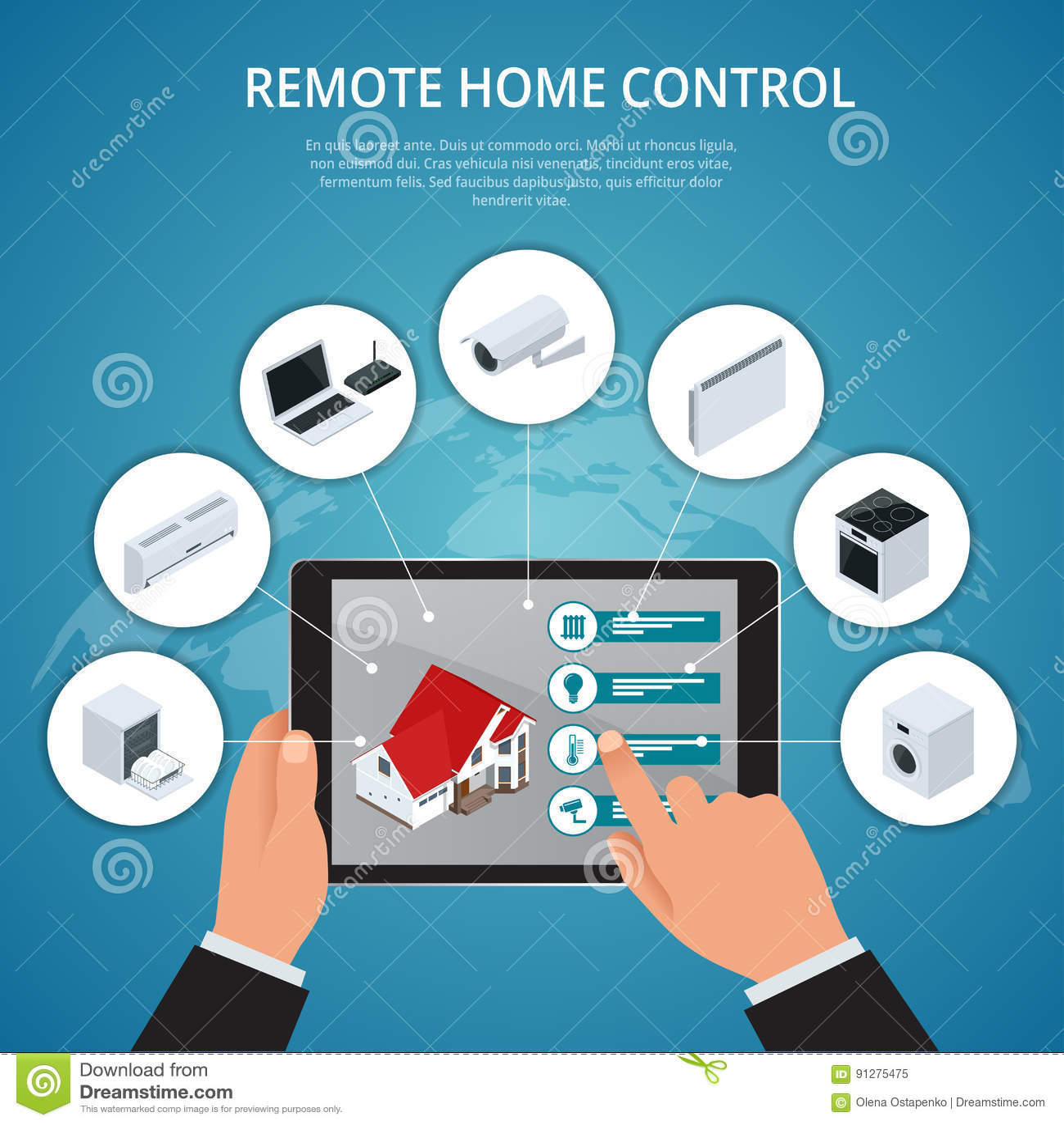 Smart hus och internet av sakerbegreppet smartphonestyrning ilar hem som den smarta proppen, kylkaffebryggarepackning