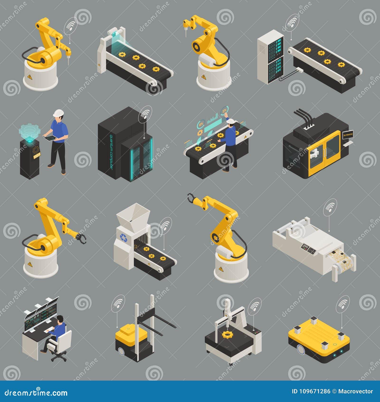 Smart Industry Isometric Icons Set