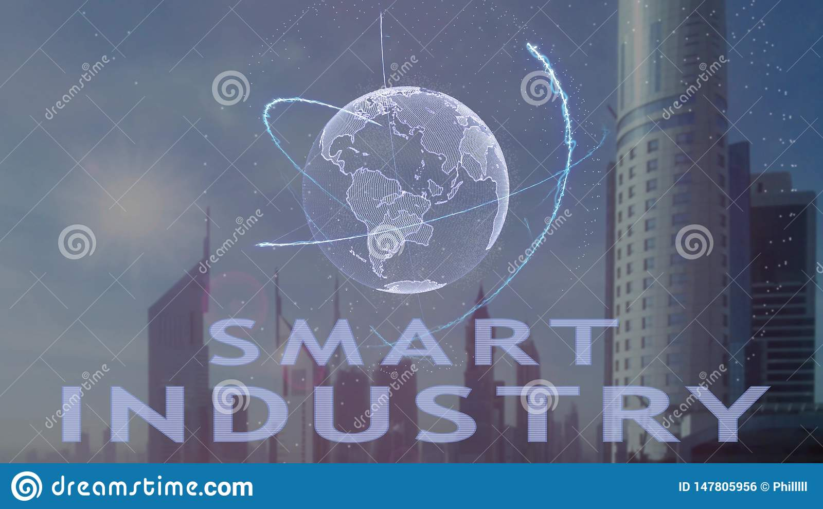 Smart Industry text with 3d hologram of the planet Earth against the backdrop of the modern metropolis