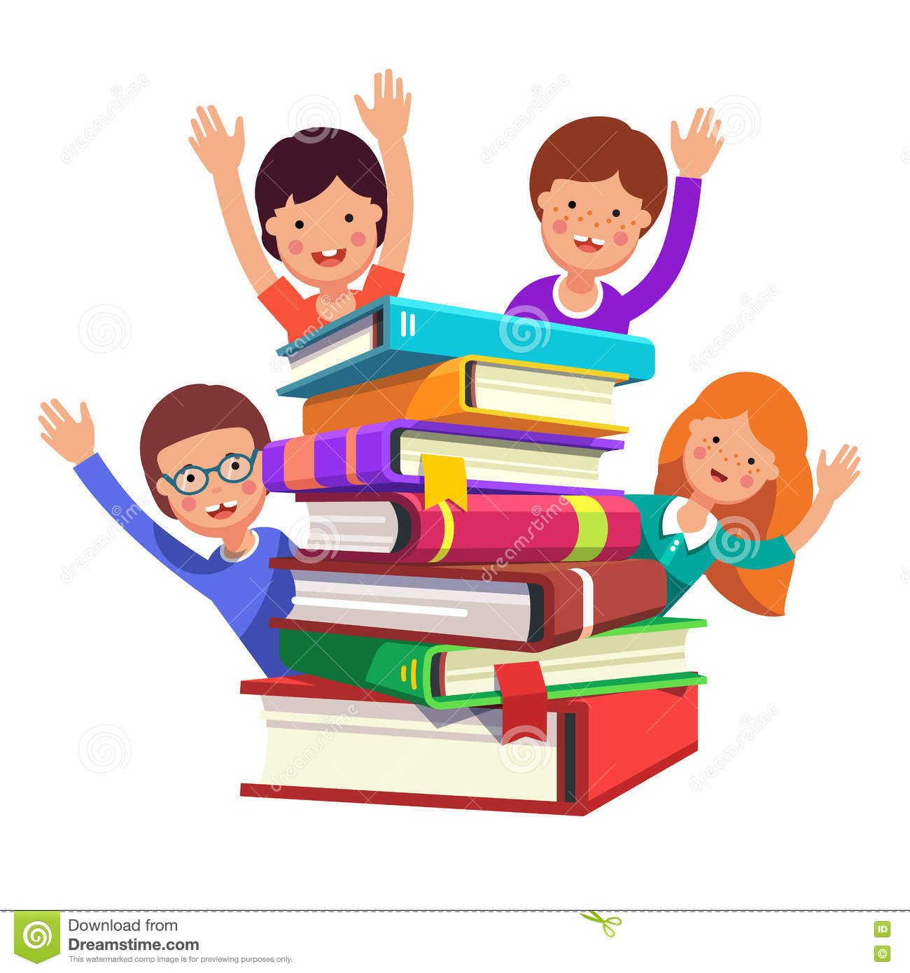 smart kids waving hands from the book pile stock vector
