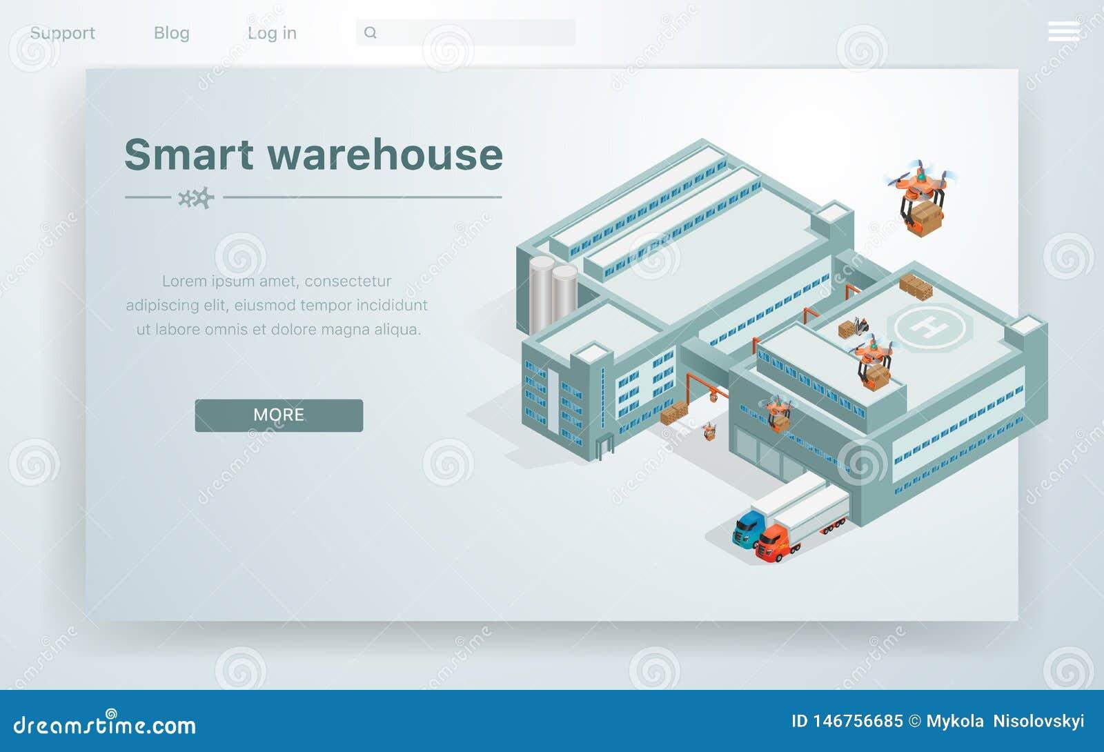 Smart lager f?r plan illustration p? enorm byggnad