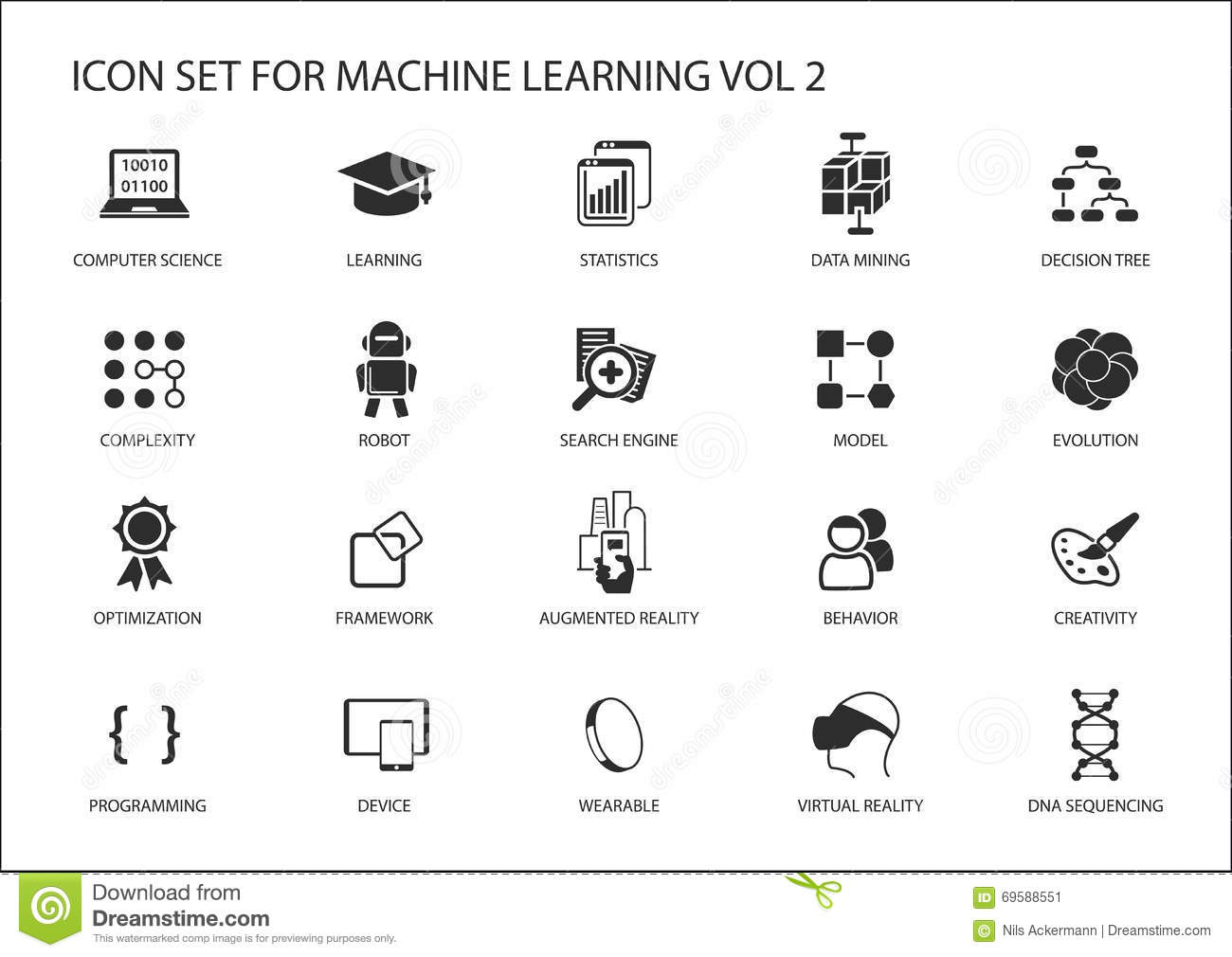smart machine learning icon set stock vector