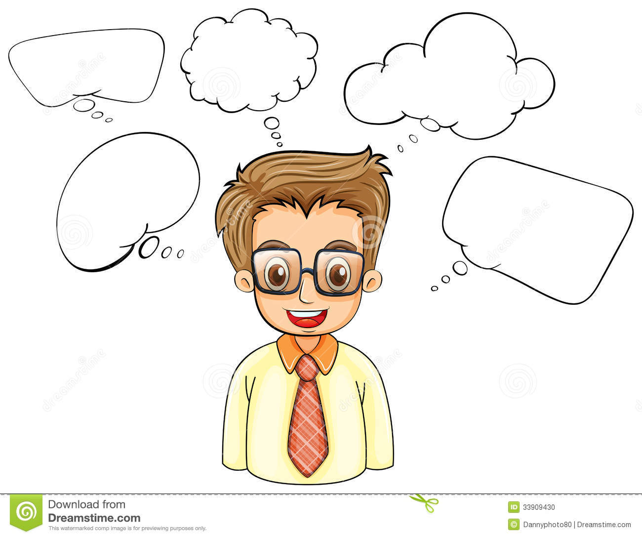 a smart man with empty callouts stock illustration