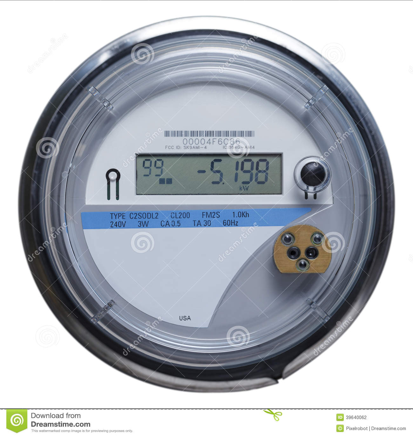 Multifunction Meter Front View : Smart meter stock photo image