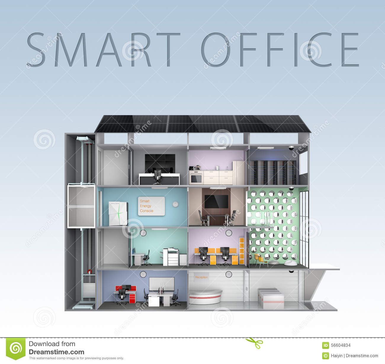 Smart Office Concept Energy Support By Solar Panel