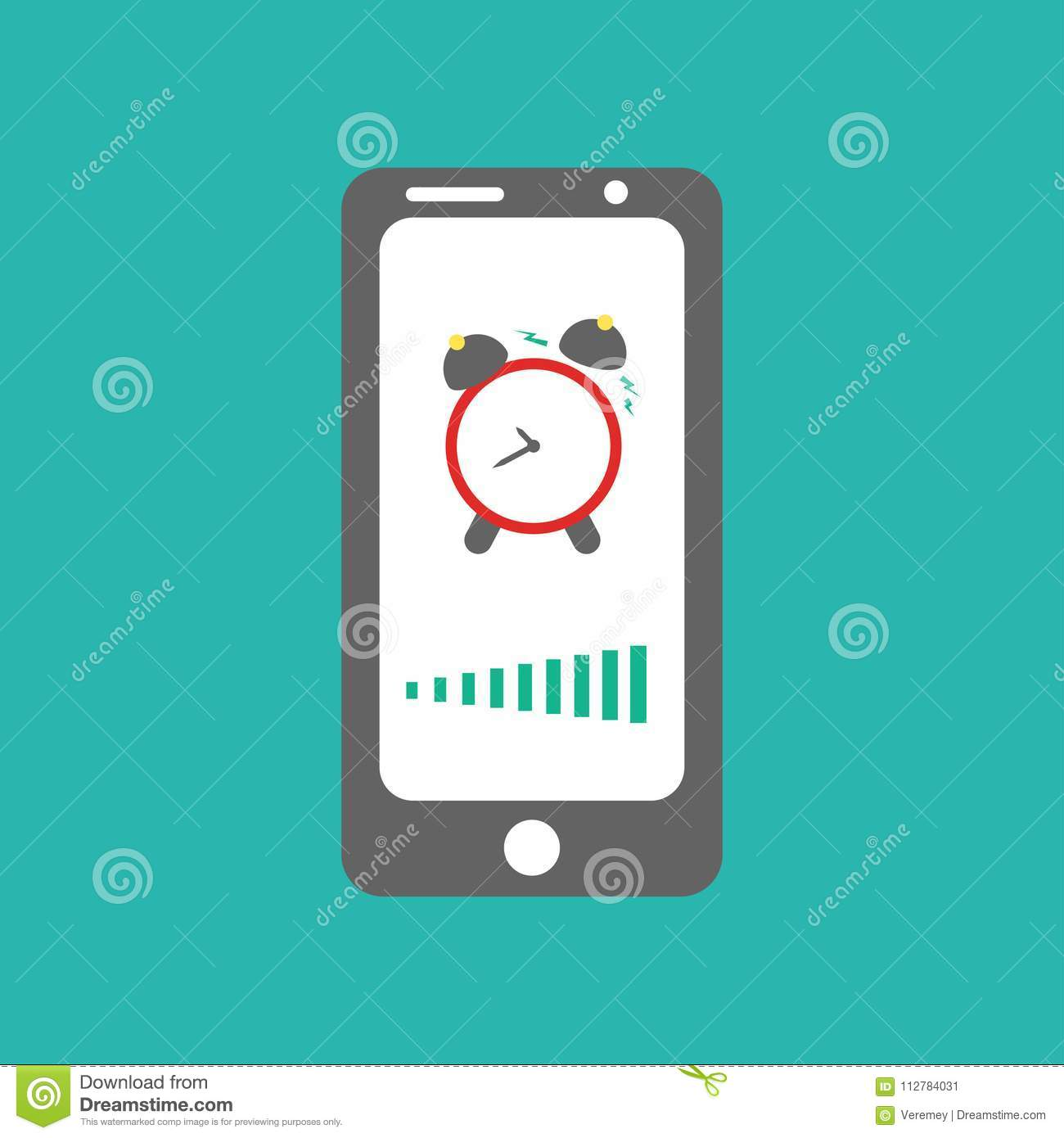 Smart phone alarm clock  stock vector  Illustration of mobile
