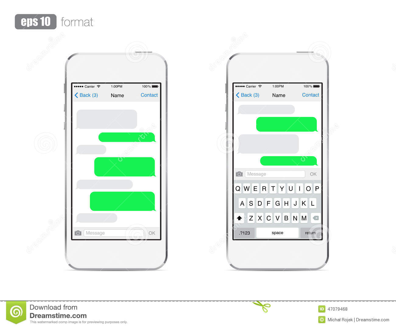 Blank Text Message Bubble Smart Phone chatting sms