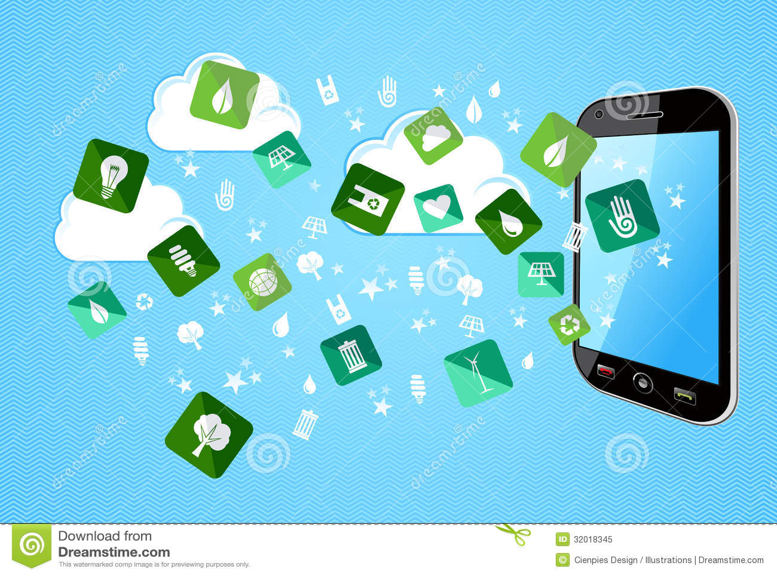 Скачать Eco Technology Flat Icons: Smart Phone Eco Friendly Icons Royalty Free Stock Photo