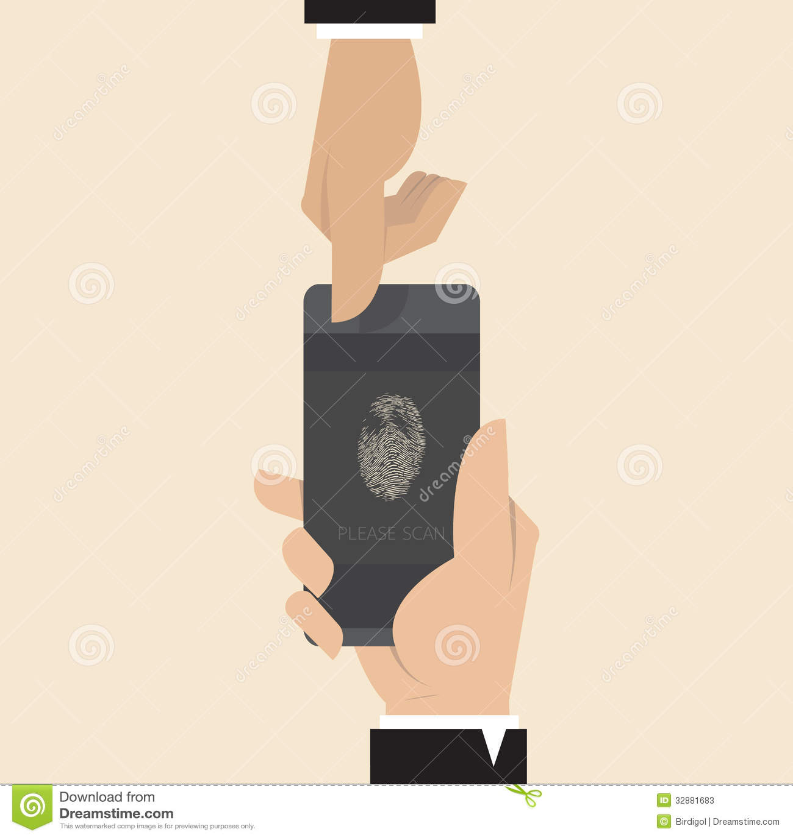 Smart Phone With Finger Print Scanner App Stock Vector