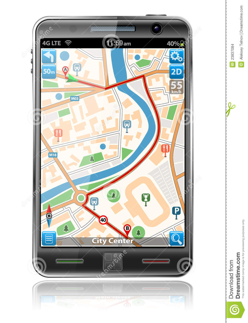 Smart Phone With Gps Navigation Application Stock Images