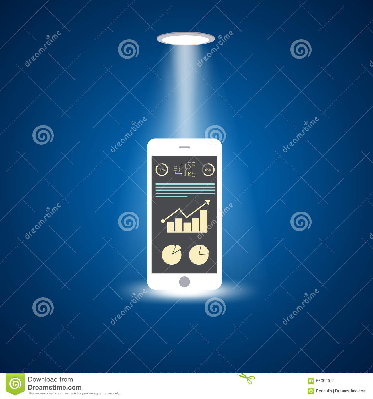 Smart phone with increasing bar chart on the screen, flat design concept