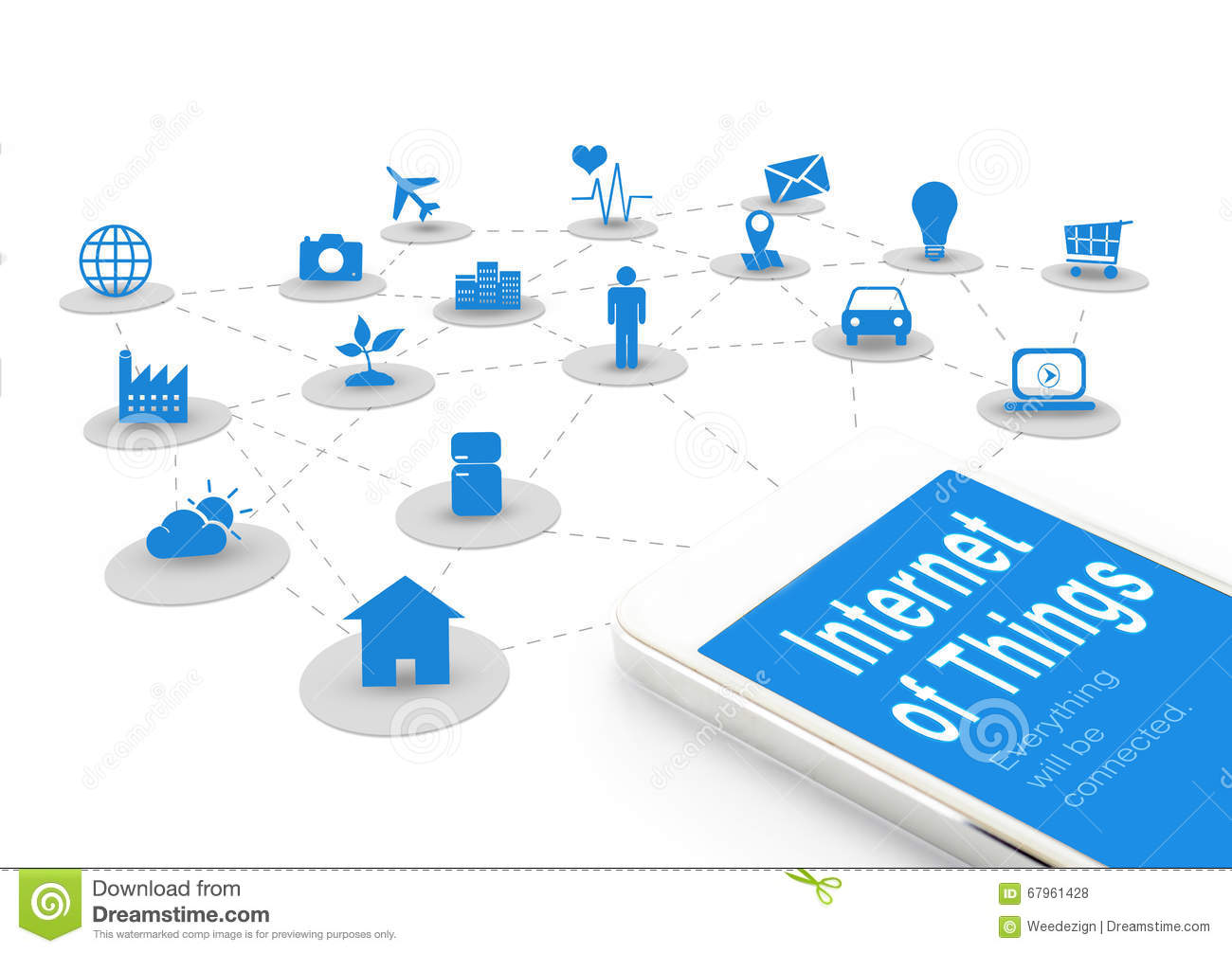Smart phone with Internet of things (IoT) word and objects icon