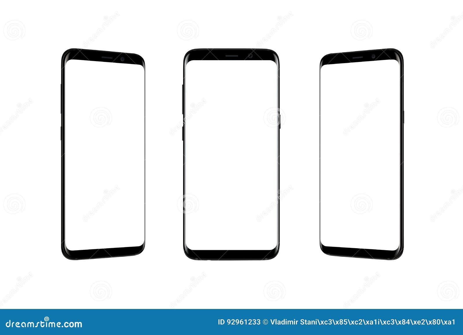 Smart Phone isolato in a tre posizioni