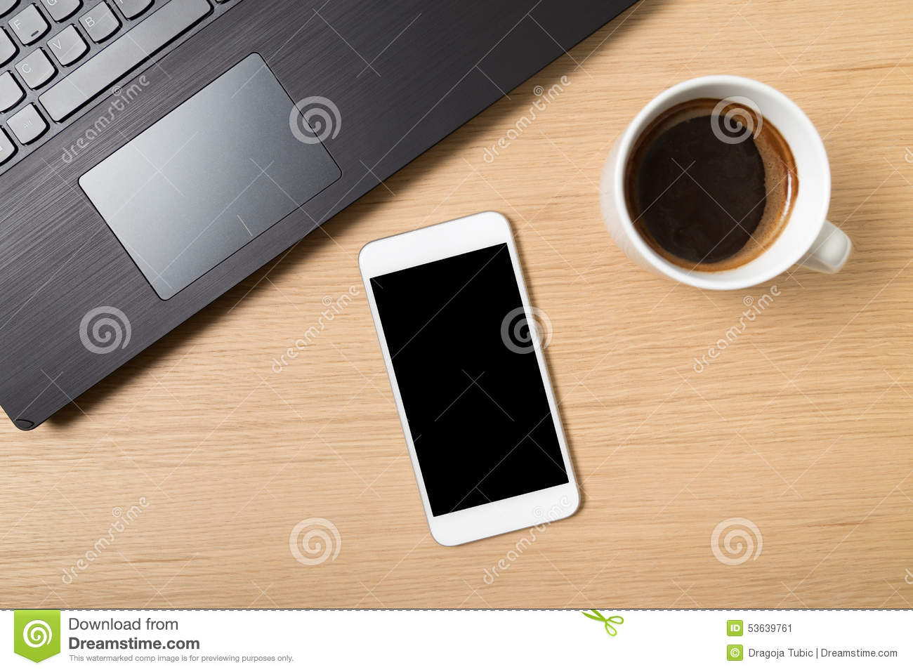 Smart phone laptop and cup of coffee on work table stock image smart phone laptop and cup of coffee on work table geotapseo Gallery
