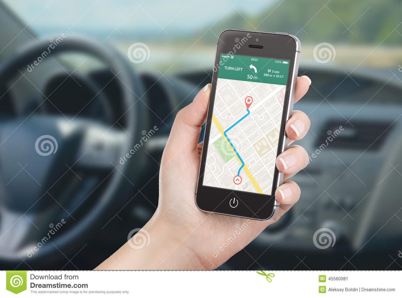 Smart Phone With Map Gps Navigation Application On The ...