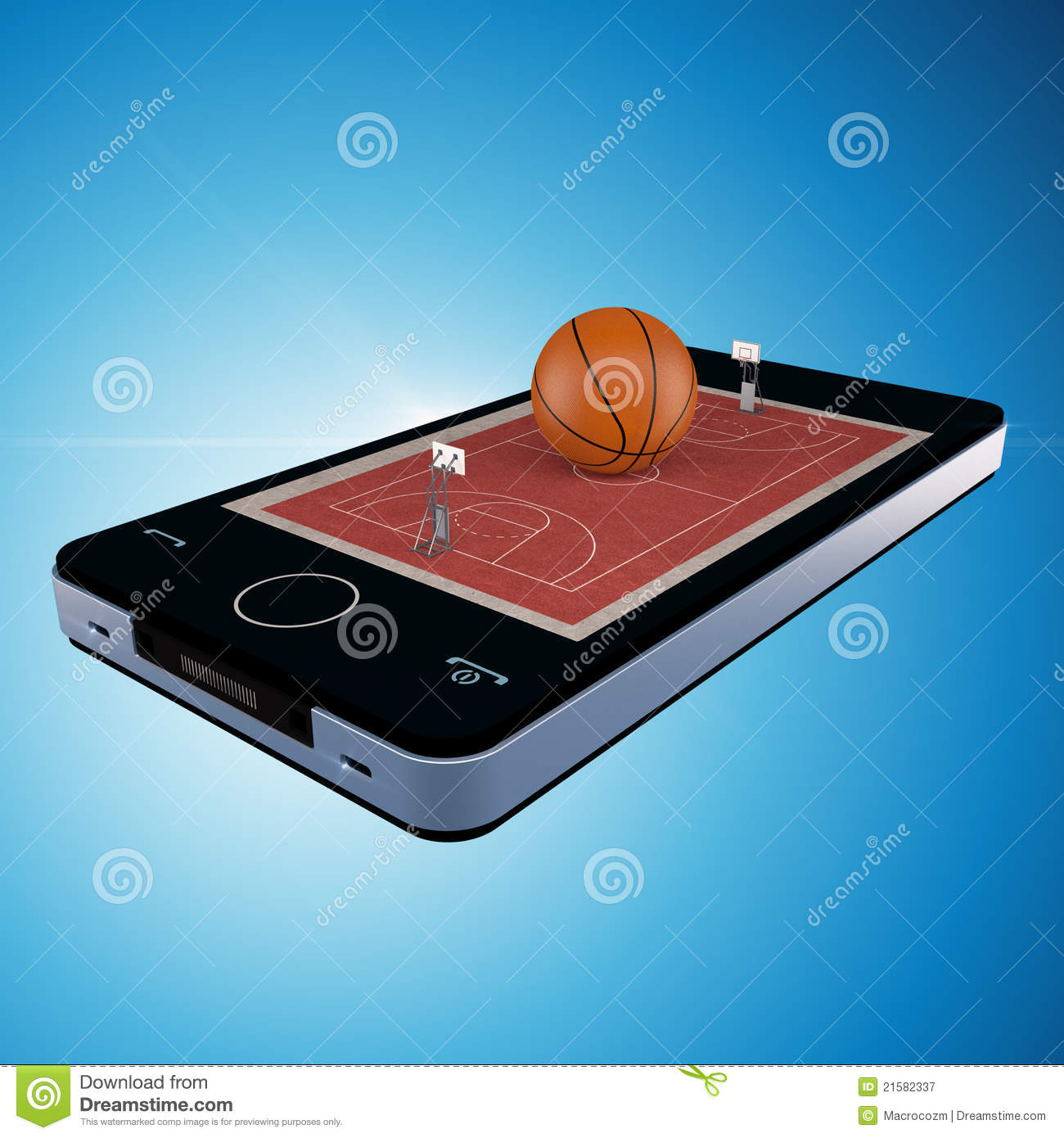 Smart phone, mobile telephone with basketball game