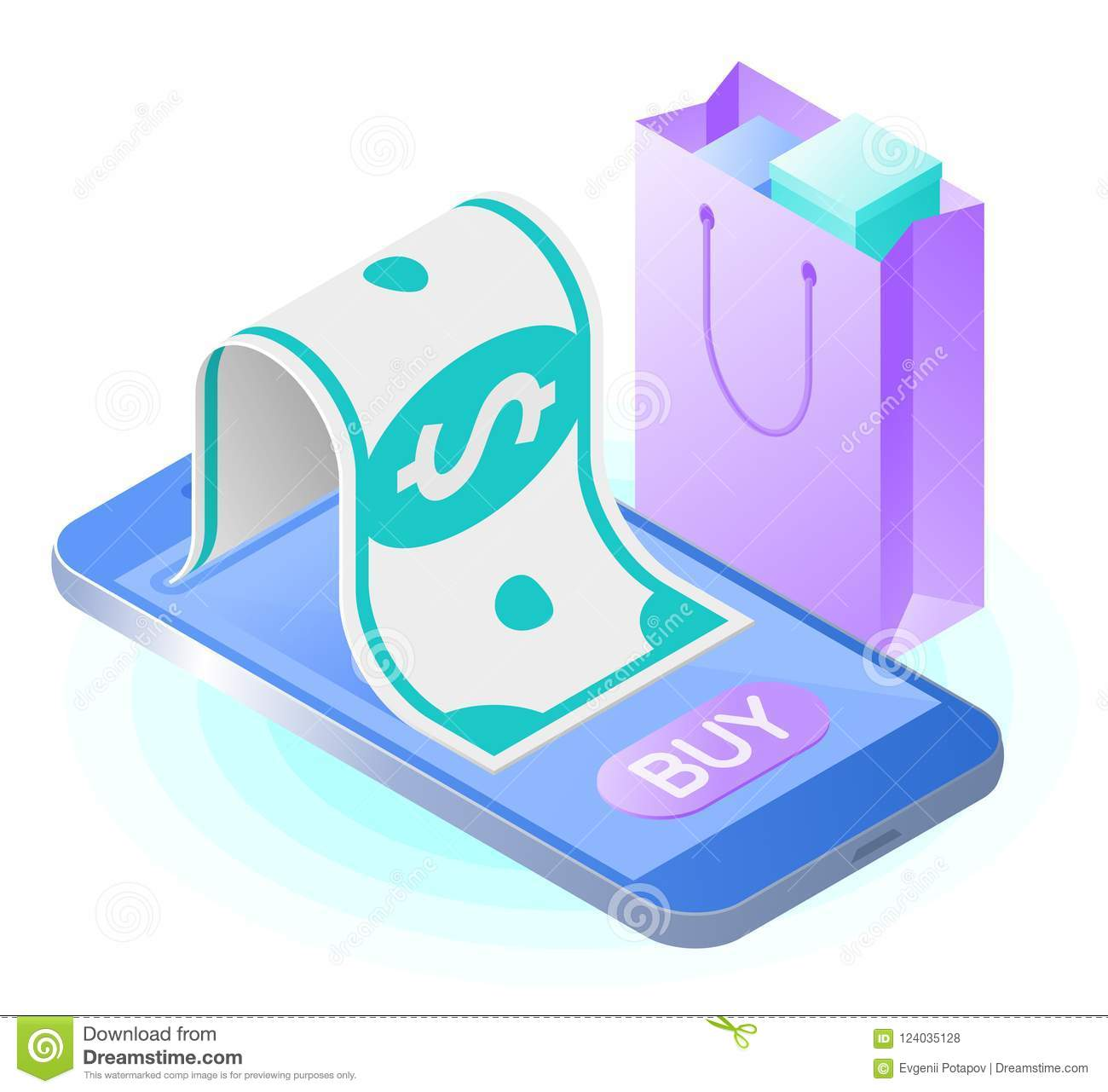 The Smart Phone Paper Dollar Shopping Bag Flat Vector Isometric Illustration Online Store Internet Shop Web Buying And Paying Mobile Payment