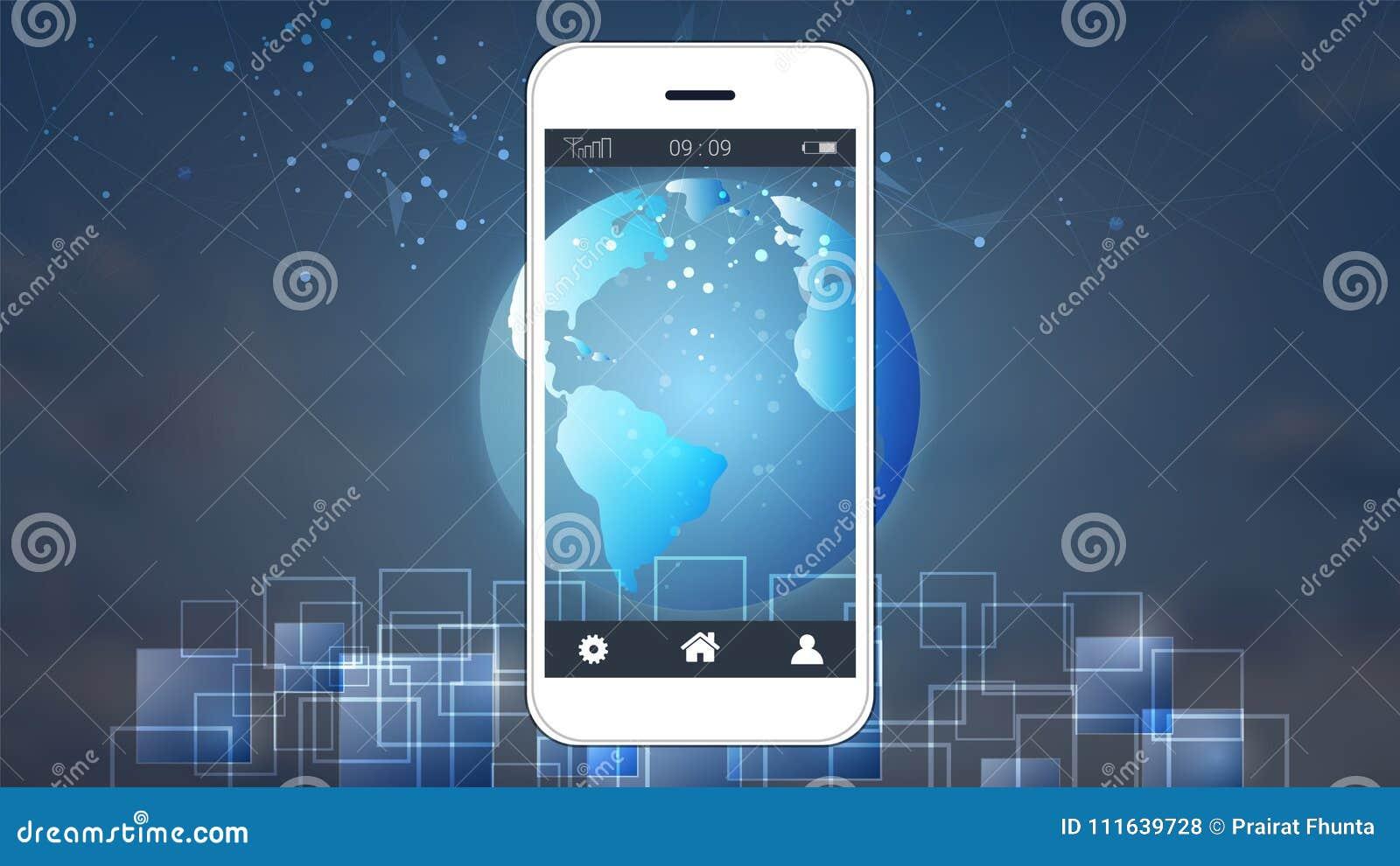 Smart phone screen showing digital circuit boards and world map smart phone screen showing digital circuit boards and world map background publicscrutiny Choice Image