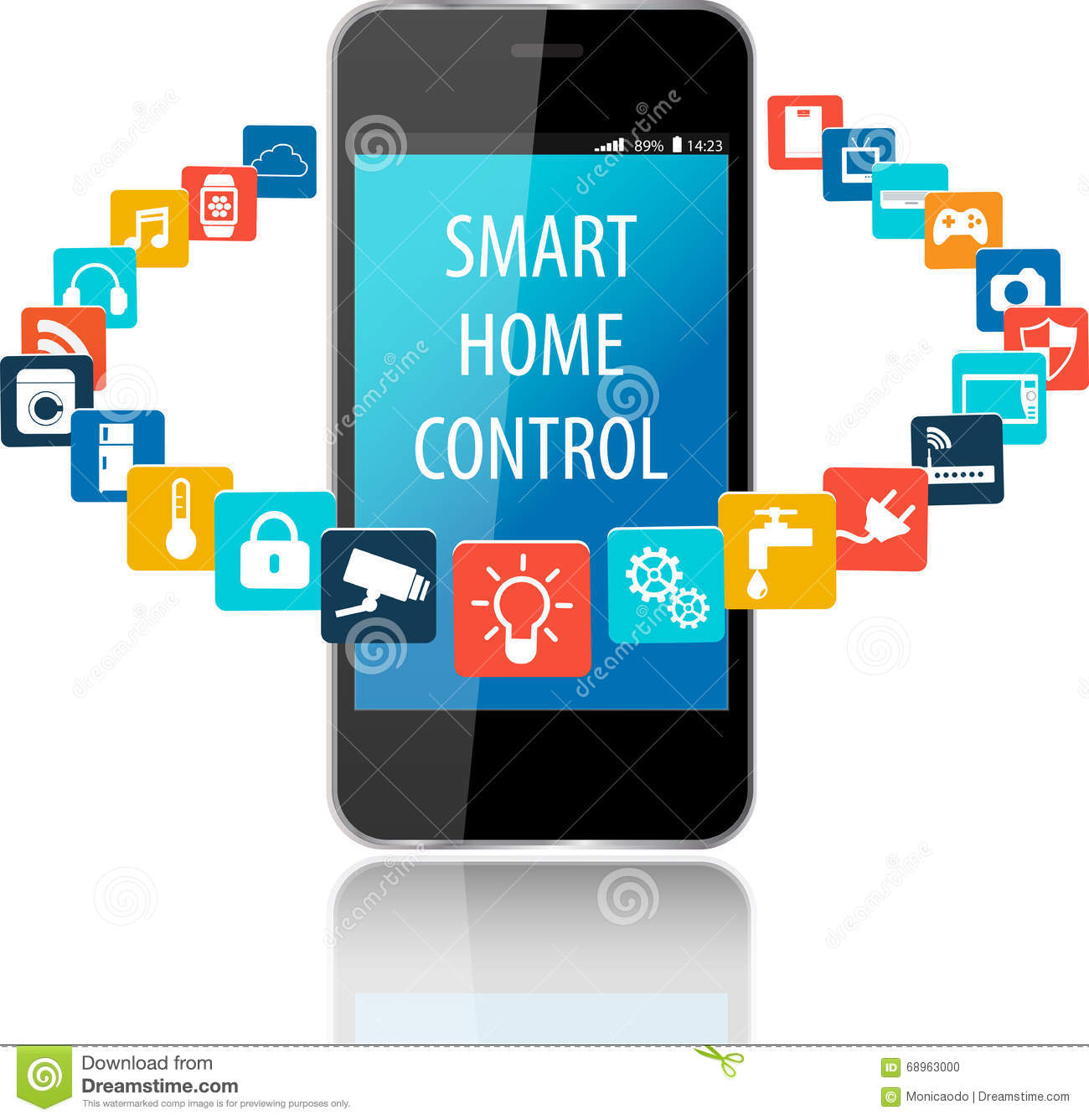Smart House Phone smart phone and smart house technology with cloud of colorful ap