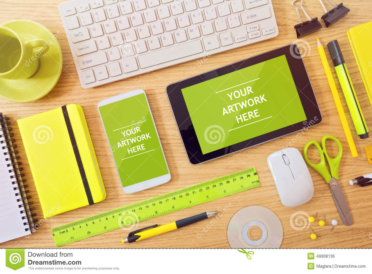 smart phone and tablet mock up template on office desk can be used