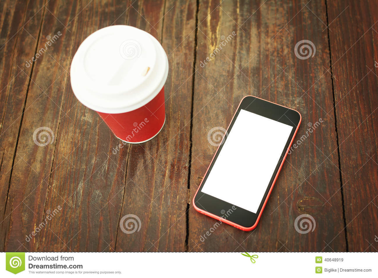 Smart Phone And Takeaway Coffee Cup On Wooden Table Stock Photo Image 40648919