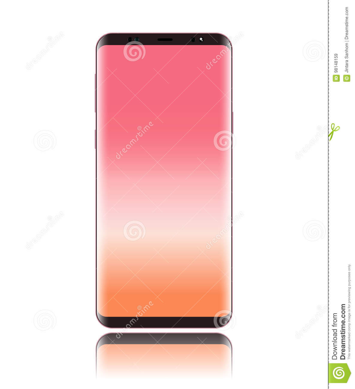 Smart phone vector with screen pink and body pink rose gold color isolated on white background