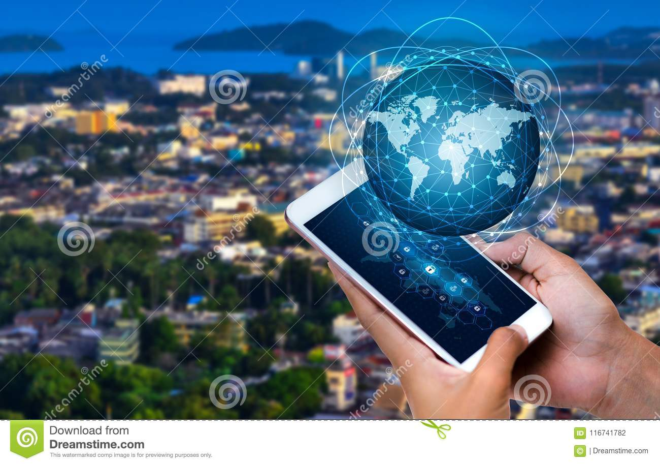 Smart Phones and Globe Connections Uncommon communication world Internet Business people press the phone to communicate in the Int