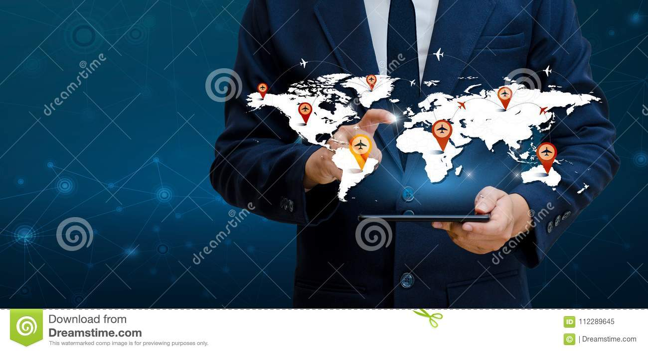 Smart Phones and Globe Connections Uncommon communication world Internet Businesspeople press the phone to communicate in the Inte