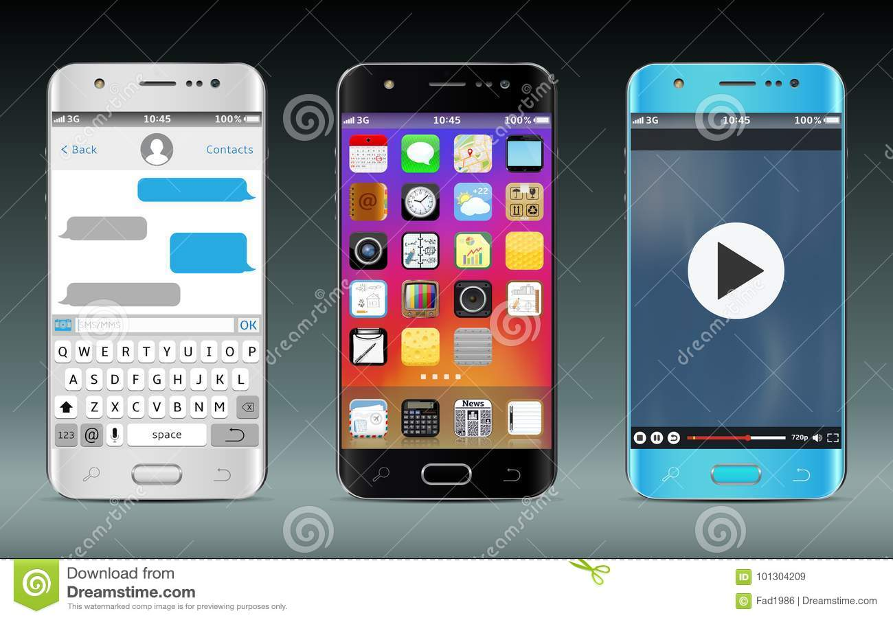 Smart Phones With Icons, Messaging Sms App And Video Player