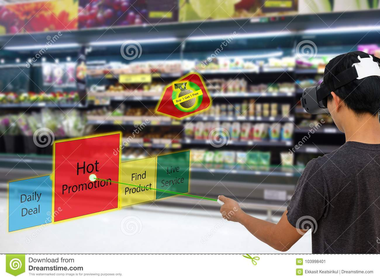 Smart retail with augmented and virtual reality technology concept, Customer use ar and vr glasses to search a daily deal,hot pro
