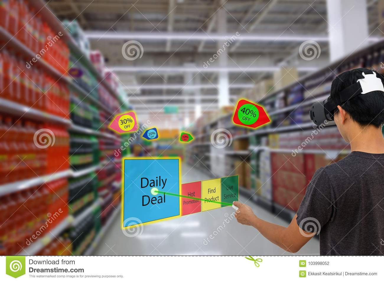 Smart retail with augmented and virtual reality technology concept, Customer use ar and vr glasses to search a daily deal