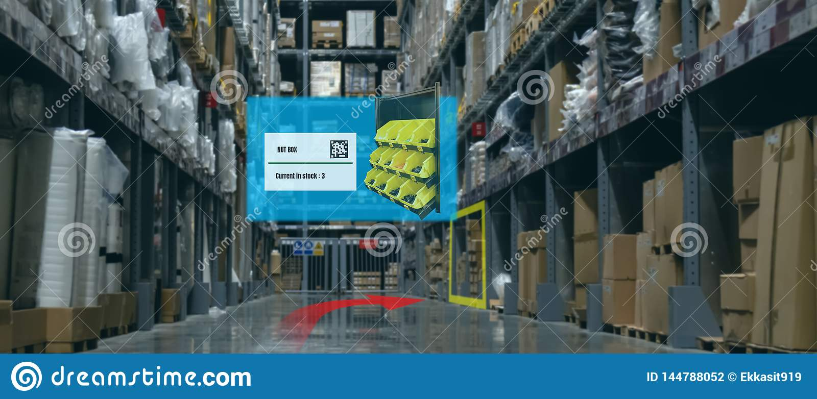 Smart retail concept, A customer can check what data of real time insights into shelf status which report on a tablet from artific