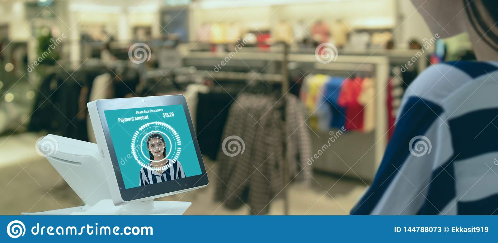 Smart retail in futuristic iot technology  marketing concepts,customer use face recognite application to login to system for buy,s