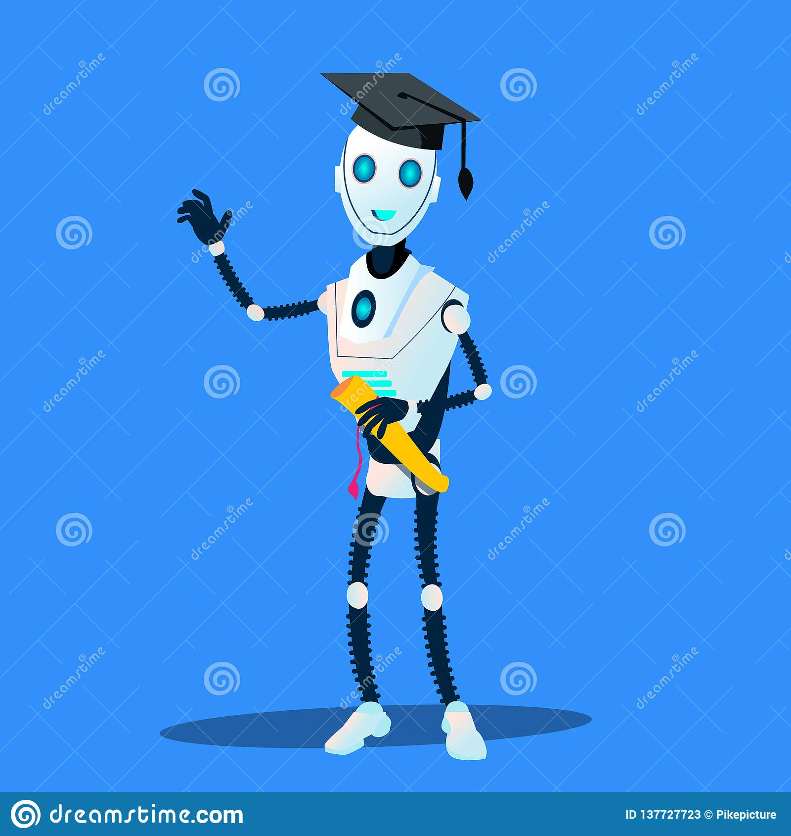 Smart robot i doktorand- lock och diplom i handvektor isolerad knapphandillustration skjuta s-startkvinnan