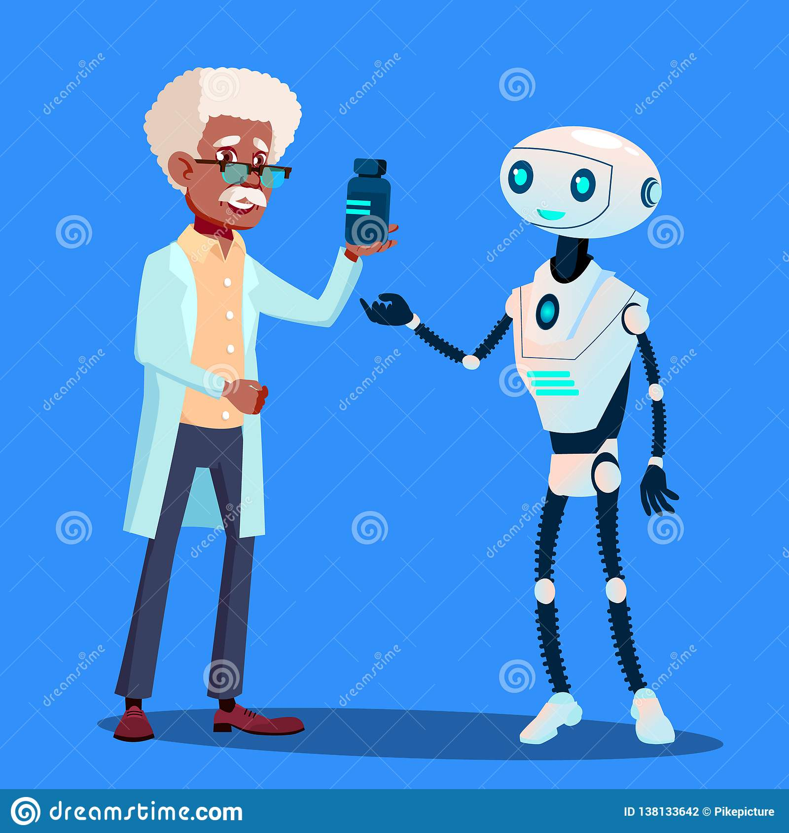 Smart Robot Visiting Doctor Vector. Isolated Illustration
