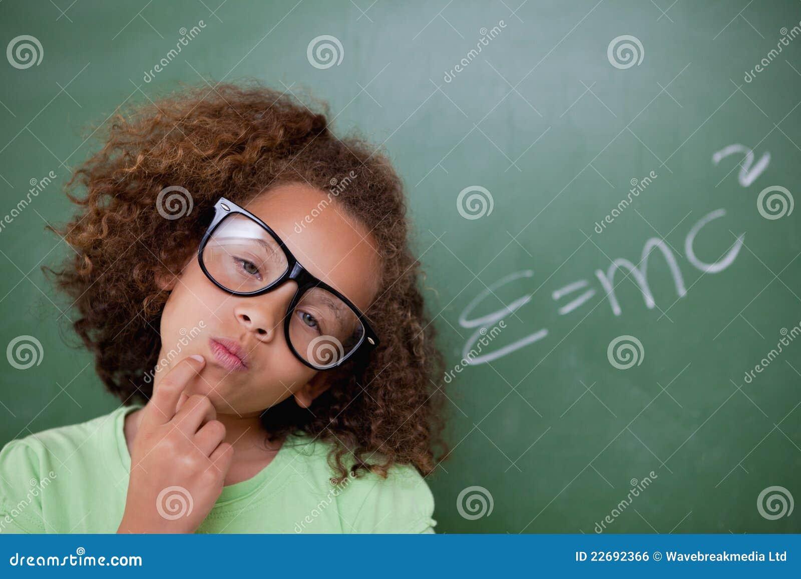 Smart schoolgirl thinking