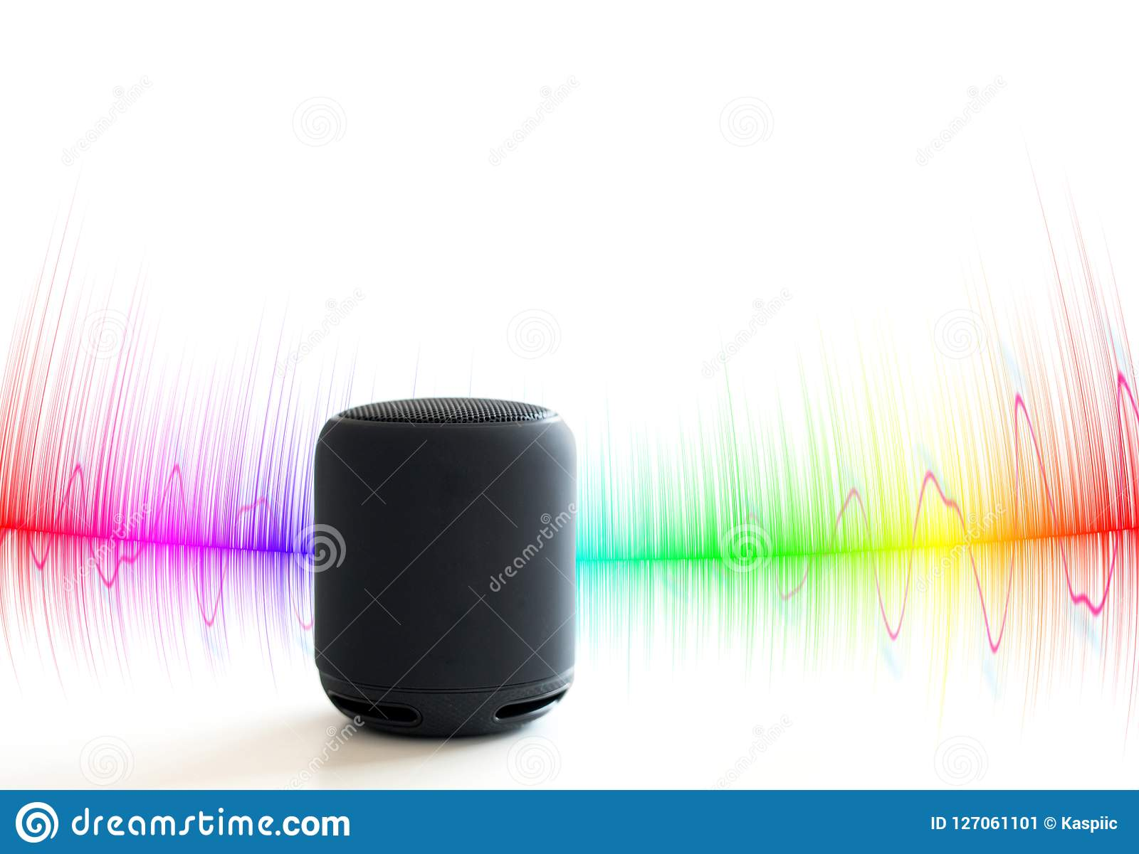 Smart speaker with colorful sound waves