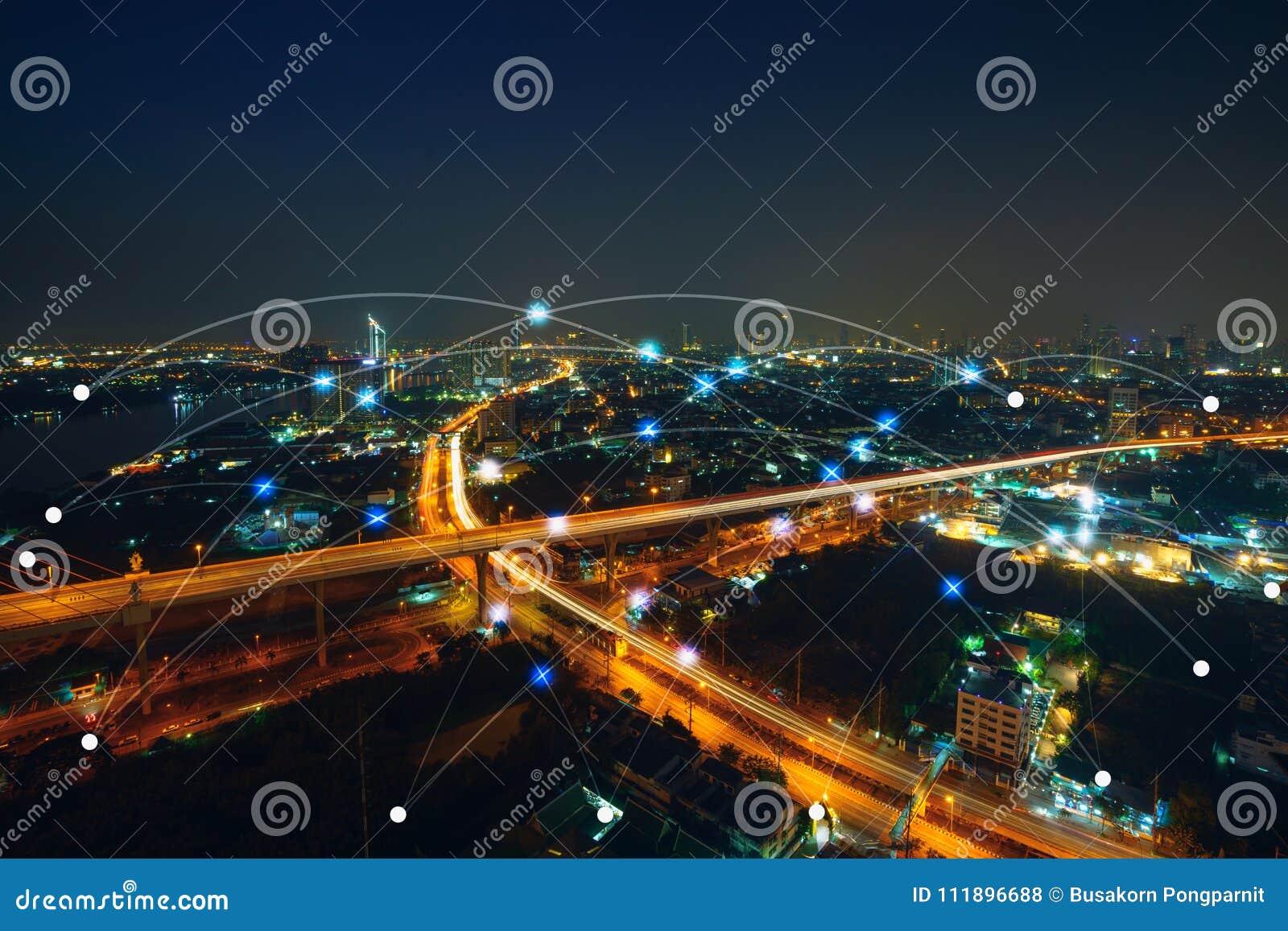 Smart stads- och kommunikationsnätverksbegrepp Internet av tinget