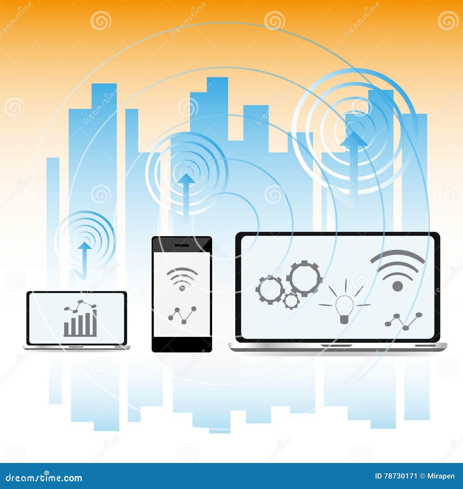Smart stadsbegrepp, modern stadsdesign med framtida teknologi