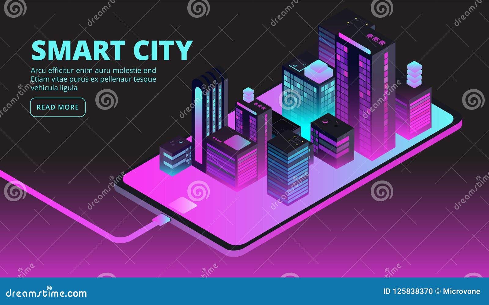 Smart stadsteknologi Intelligenta byggnader i den framtida staden Isometriskt baner för vektor 3d
