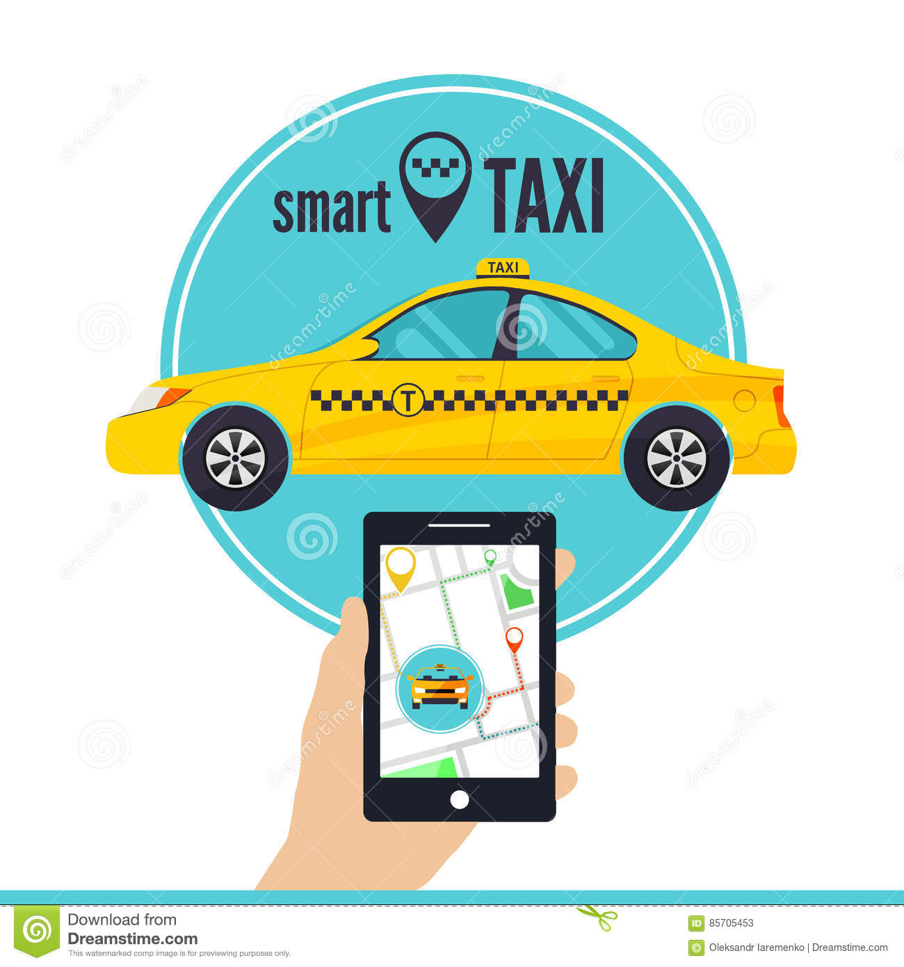 Smartphone With Taxi Service Internet Application Royalty ...