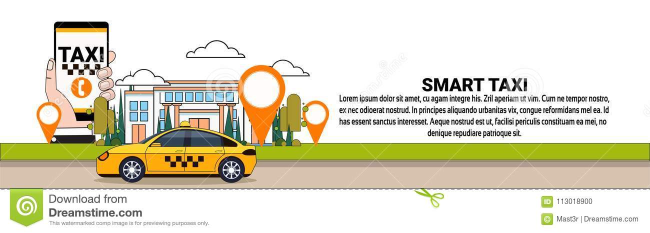 Smart Taxi Service Horizontal Banner Mobile App Of Cab Order