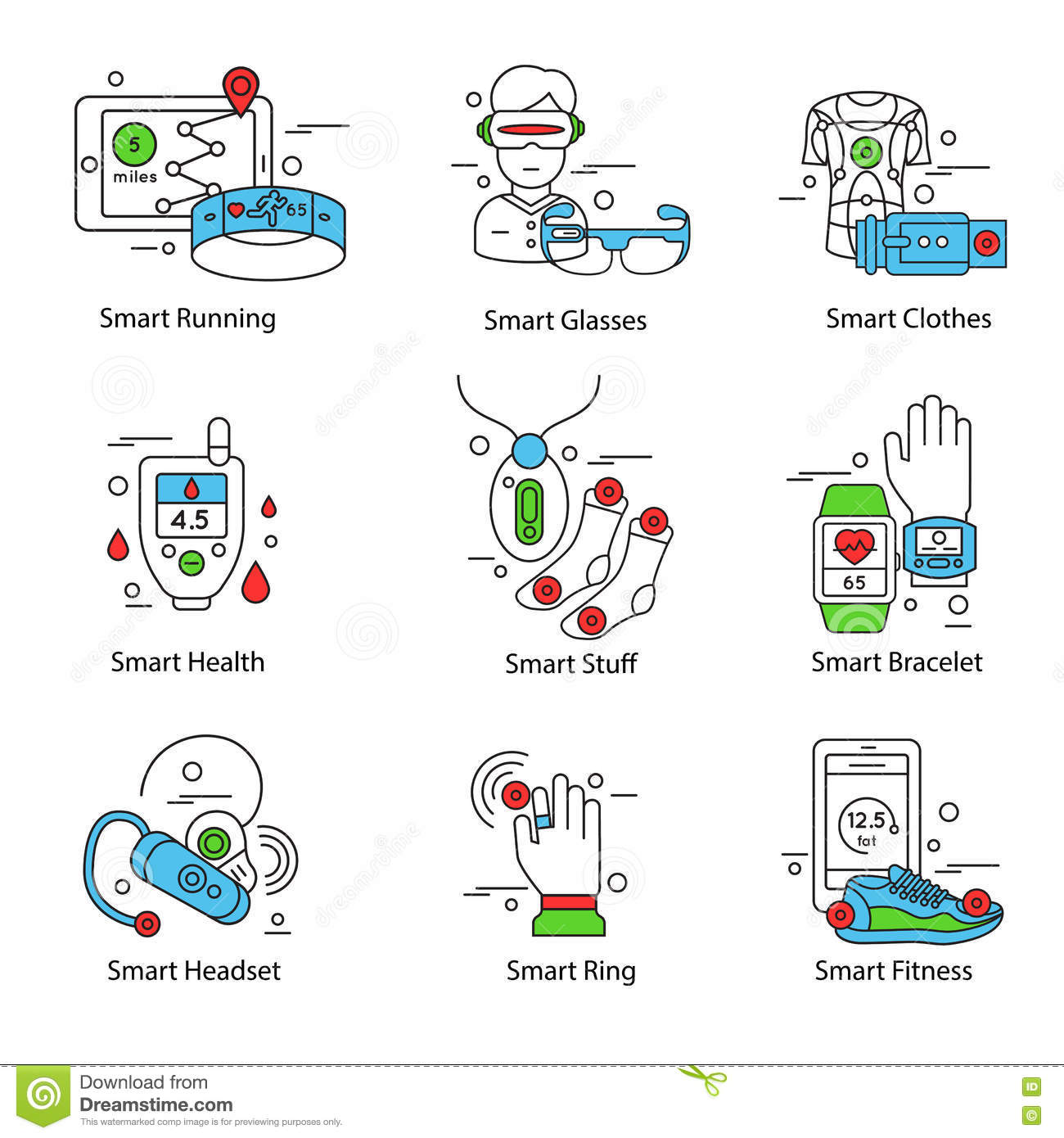 Smart Technology Line Icon Set Stock Vector Image 74931478