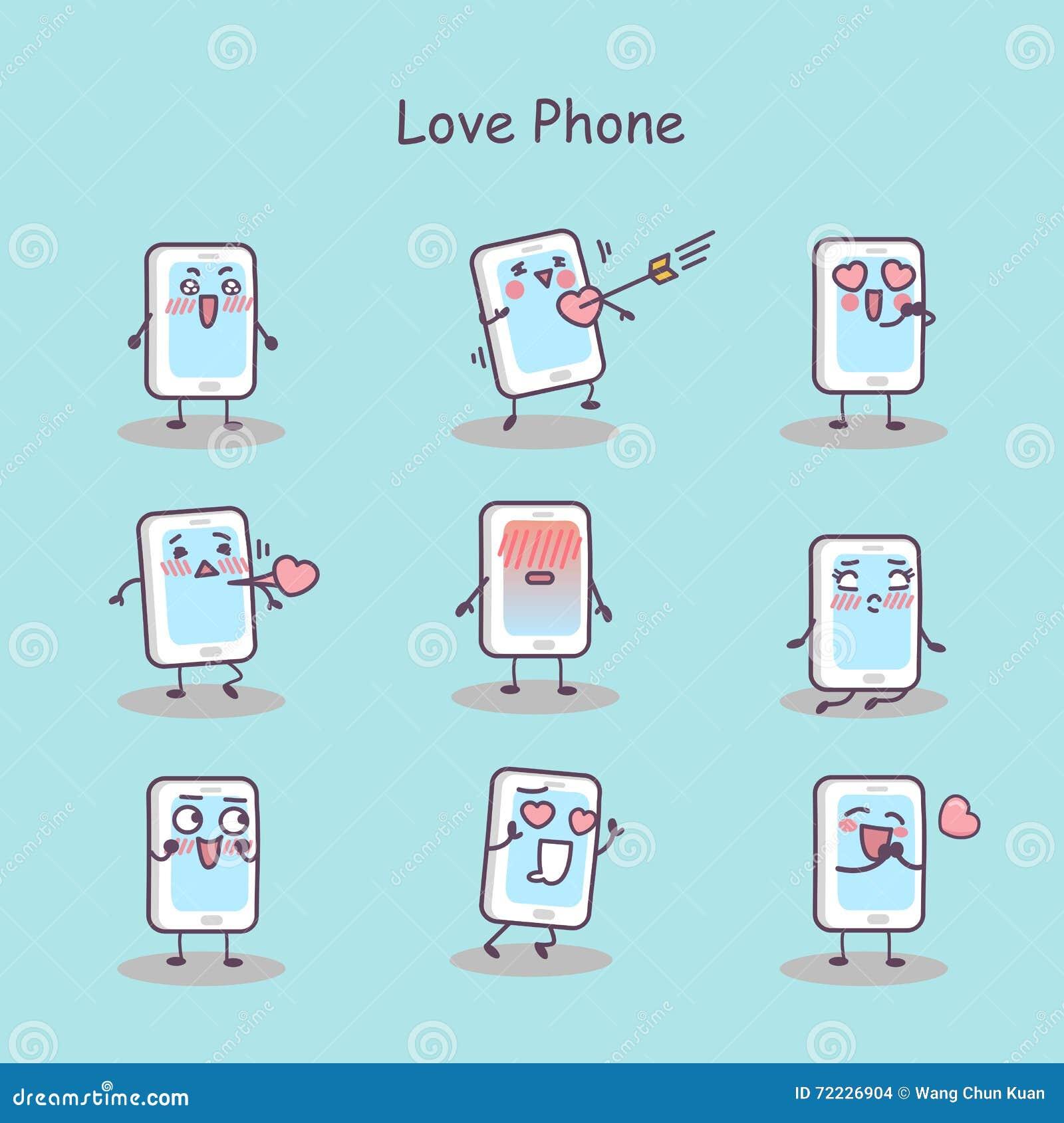 Smart telefon för förälskelsetecknad film