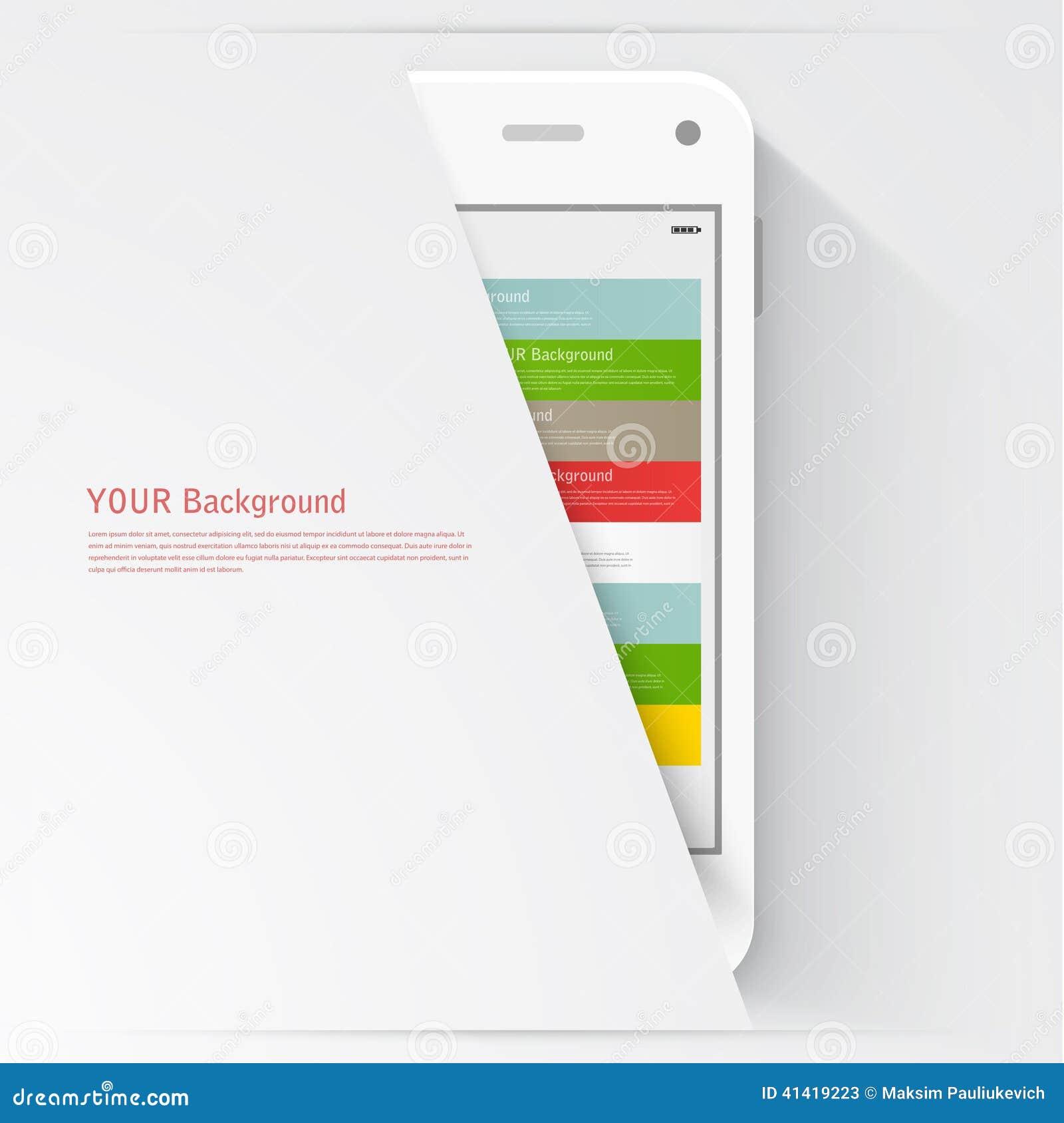 Smart telefon med isolerat Realistisk vit