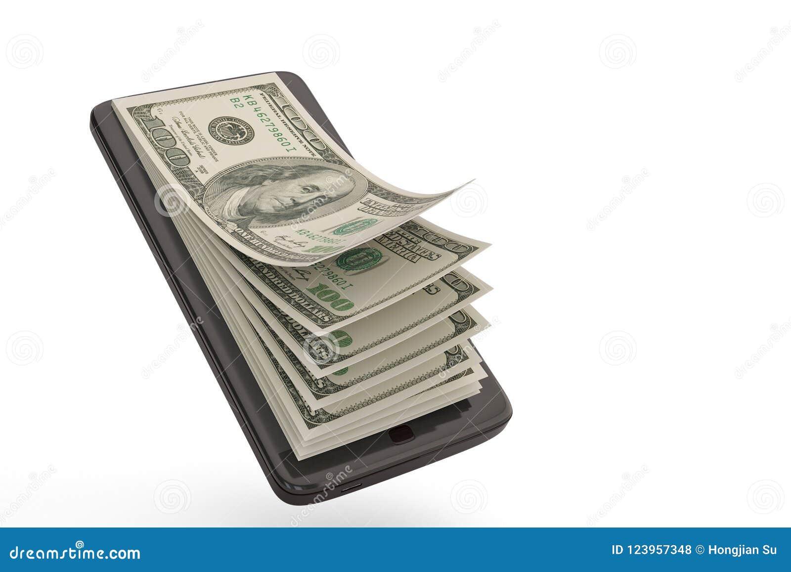 Smart telefon med pengarbegreppsdollar illustration 3d